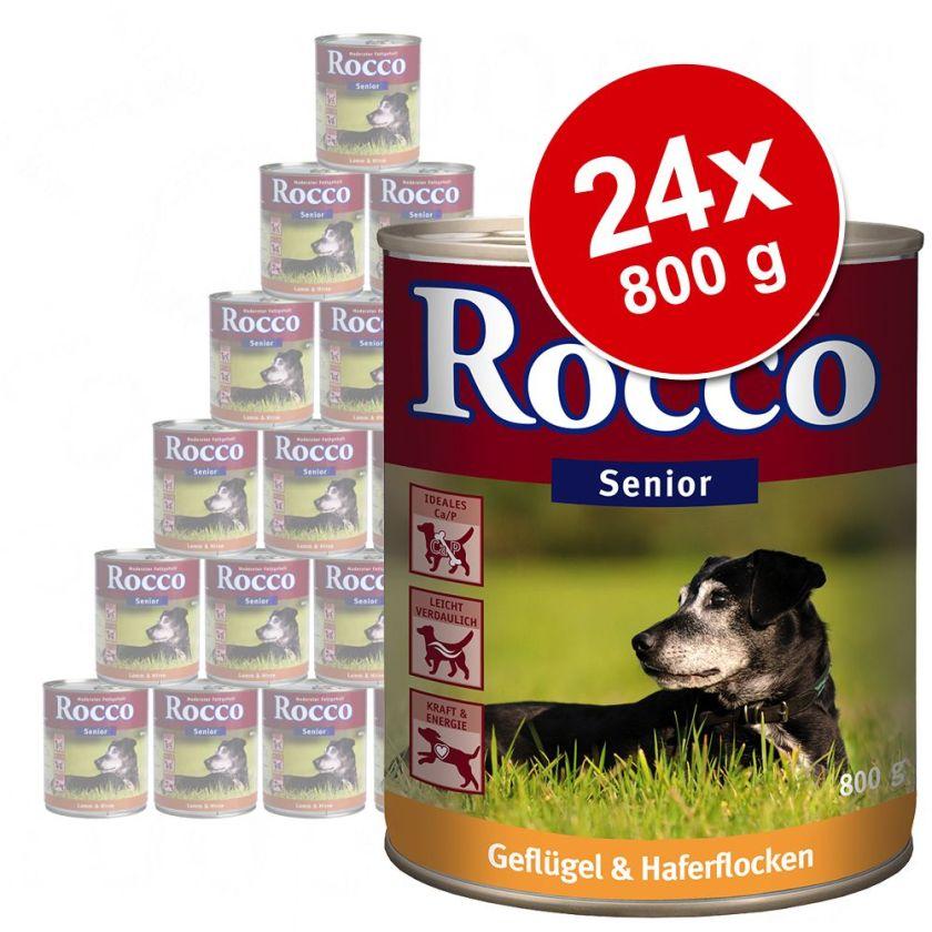 Lot Rocco Senior 24 x 800 g pour chien - volaille, flocons d´avoine