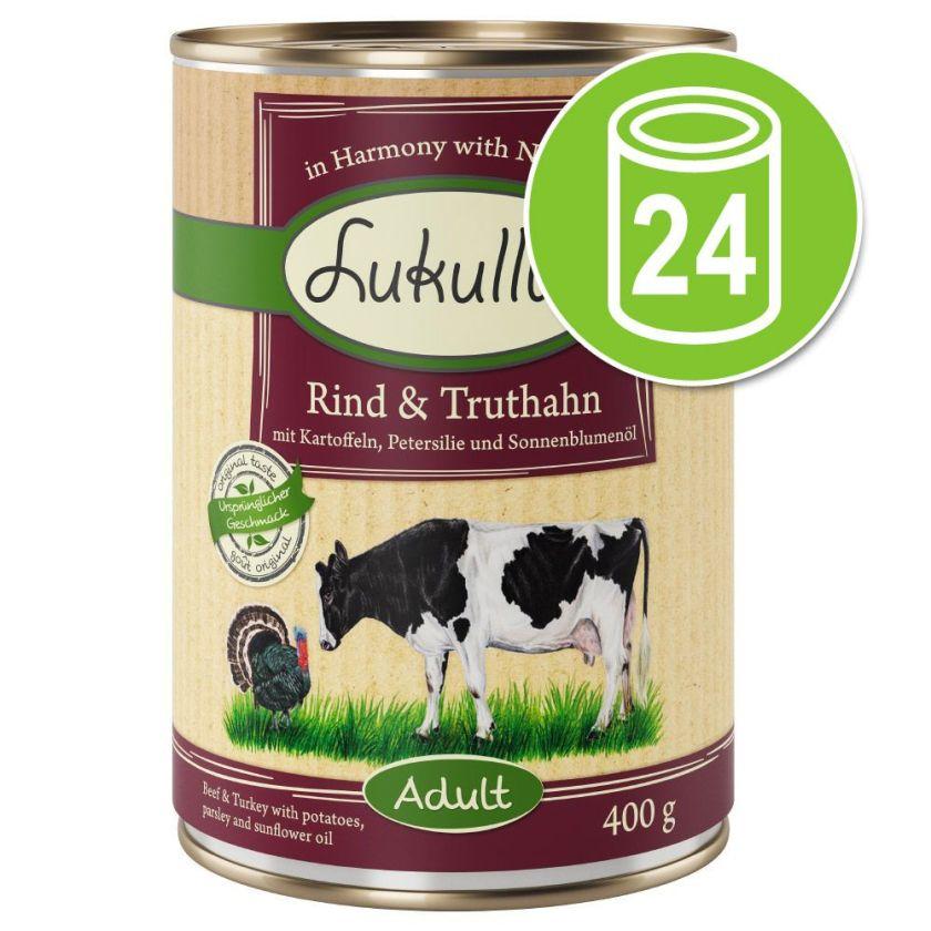 Lot Lukullus 24 x 400 g pour chien - canard, veau