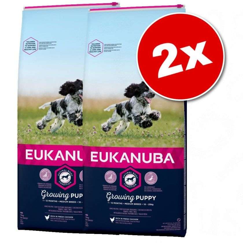 2x15kg Active Adult Medium Breed poulet Eukanuba Croquettes chien