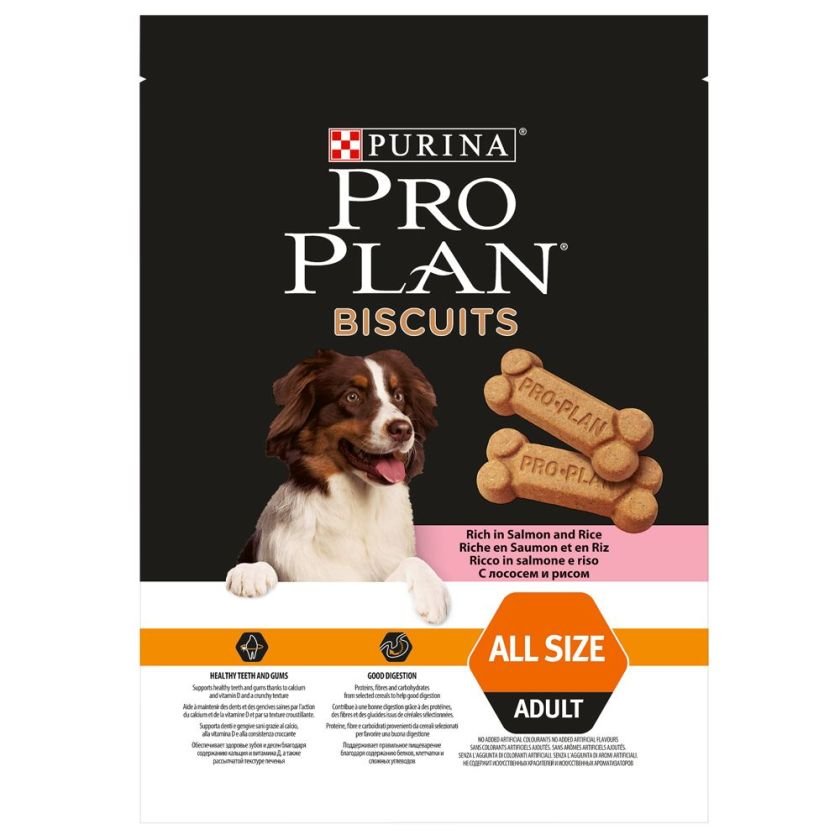 PURINA PRO PLAN saumon, riz, biscuits pour chien - 3 x 400 g