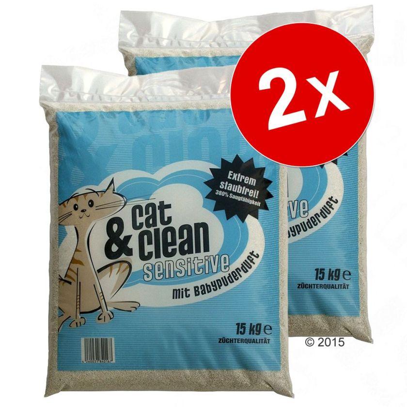Lot économique litière Cat & Clean - Cat & Clean de Luxe, senteur vanille (2 x 15 kg)