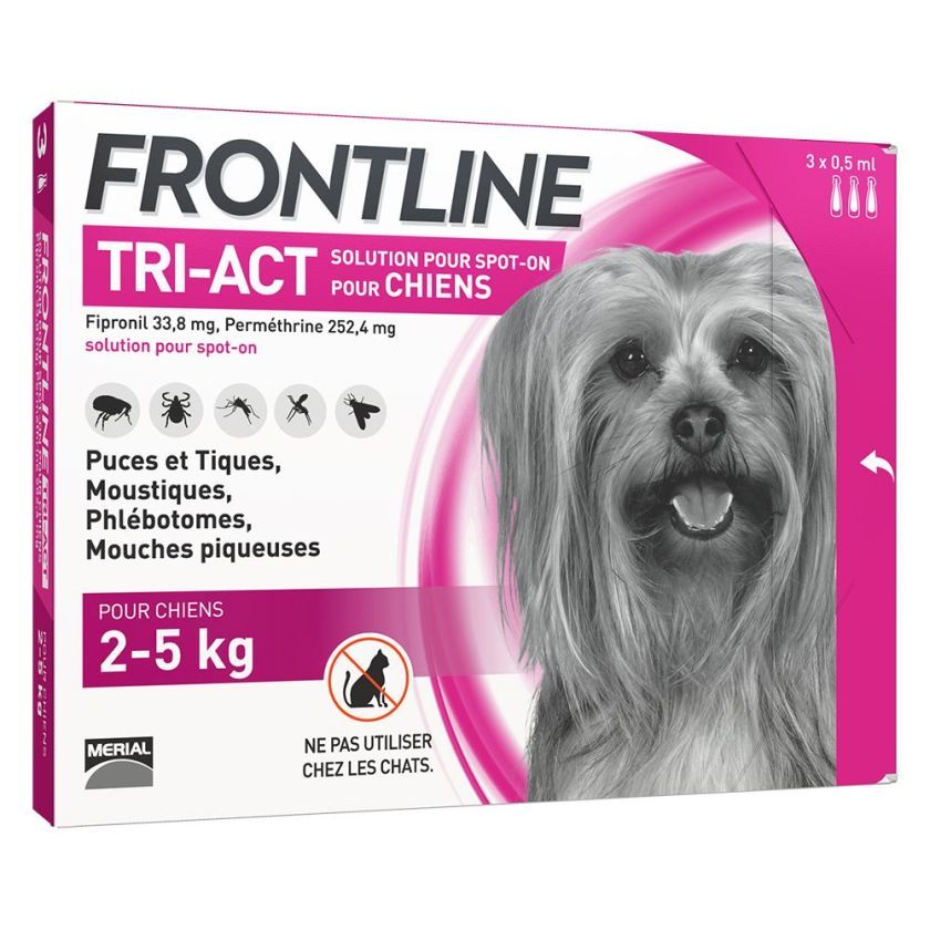 FRONTLINE TRI-ACT Chien, 2 - 5 kg - 6 pipettes