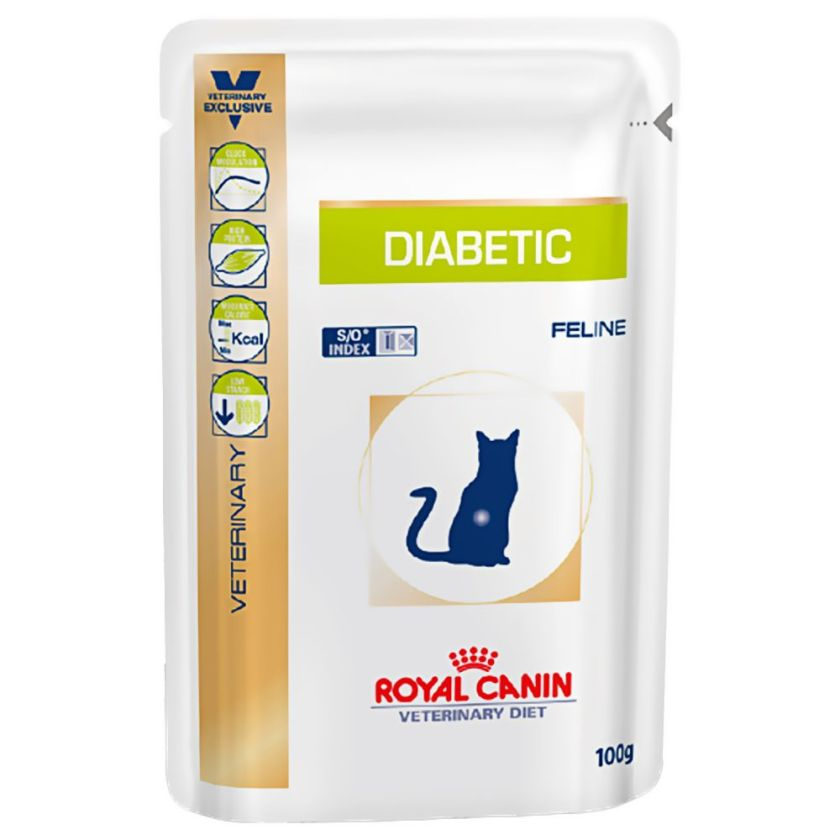 24x100g Diabetic Royal Canin Veterinary Diet Sachets pour chat