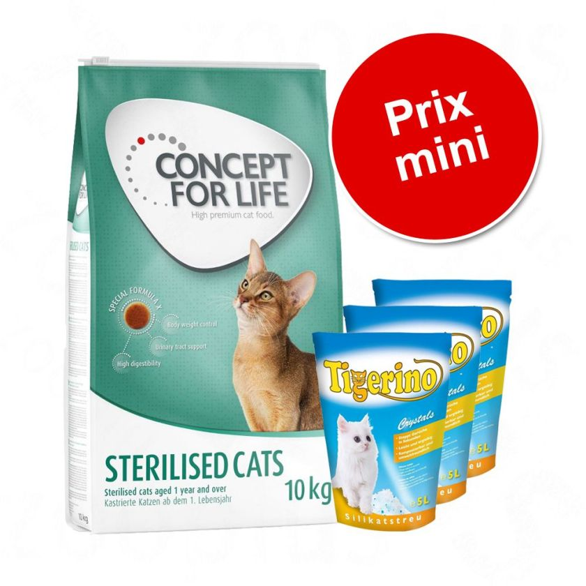Pack malin : 3 x 5 L de litière Tigerino Crystals + 9 ou 10 kg de croquettes Concept for Life - Indoor Cats (9 kg) + Tigerino Crystals (3 x 5 L)