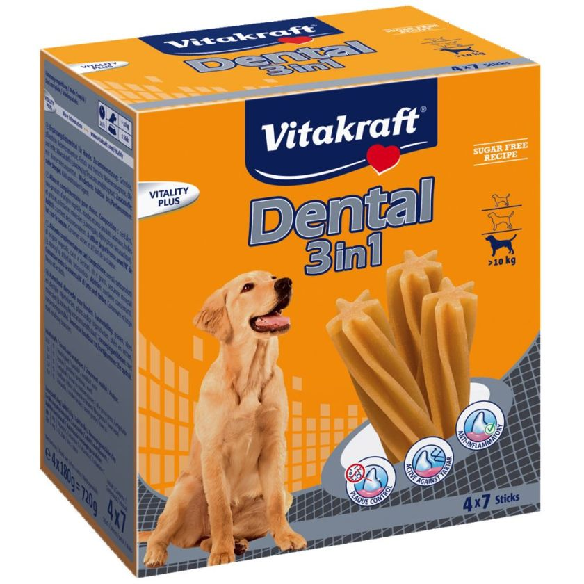 4x180g Dental 3in1 taille M Multipack Vitakraft pour chien