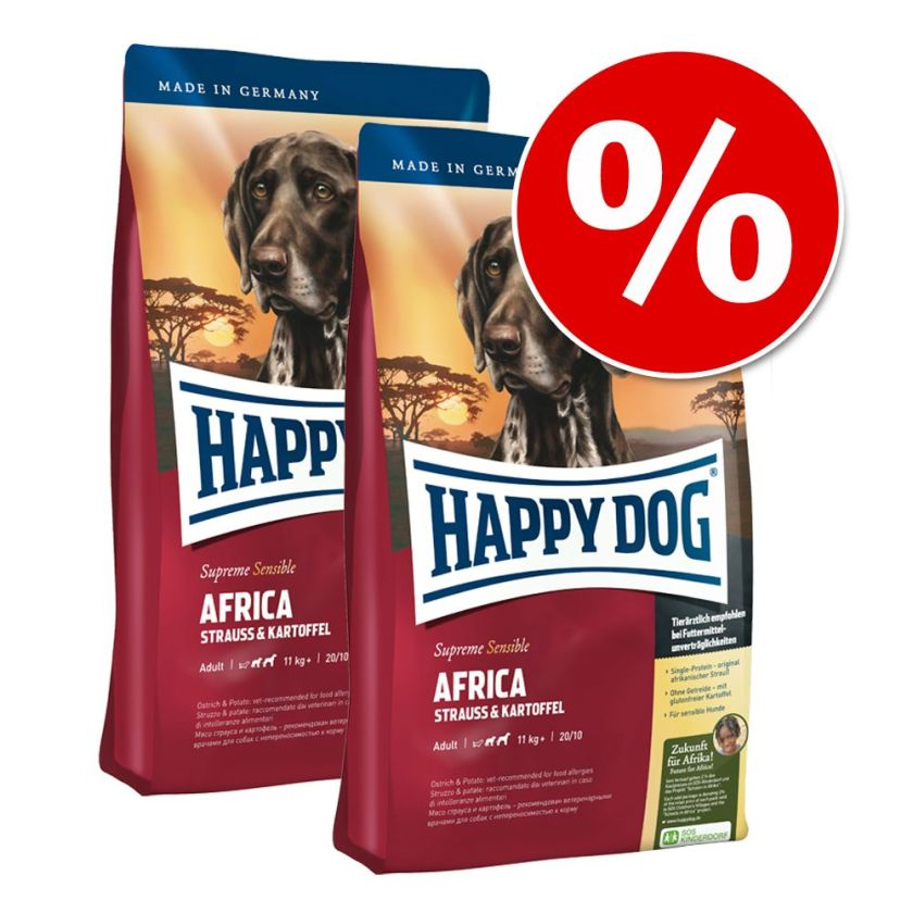 Lot Happy Dog Supreme pour chien - Sensible Canada saumon, lapin, agneau (2 x 12,5 kg)