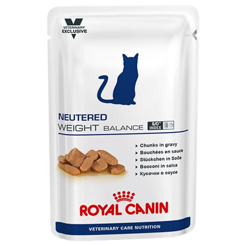 12x100g Neutered Weight Balance Royal Canin Vet Care Nutrition Sachets pour chat