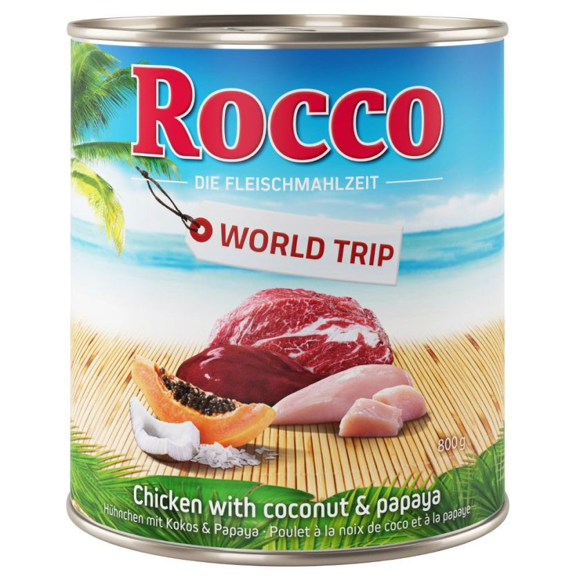6x800g Tour du monde, Jamaïque, poulet, noix de coco & papaye Rocco - Nourriture pour chien