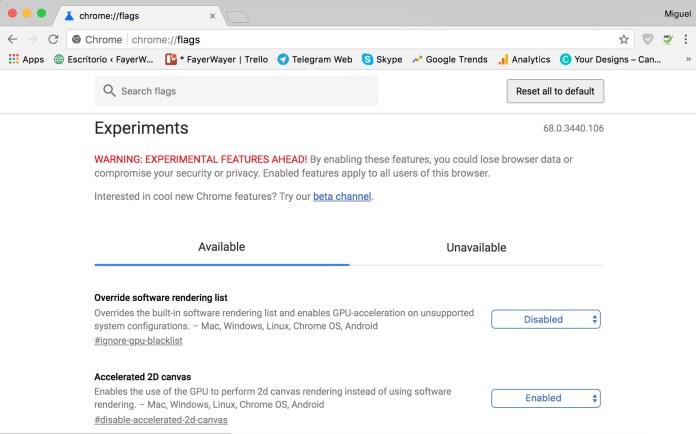 Funciones experimentales de Chrome