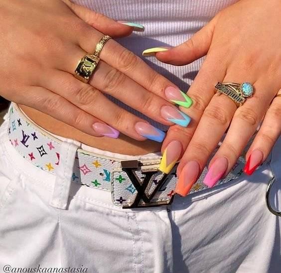 Decoracion De Uñas Francesas De Colores Decoración De Uñas