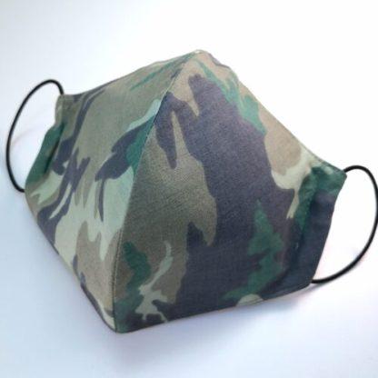 Munskydd, grön camouflage, 3 lager 100% bomull