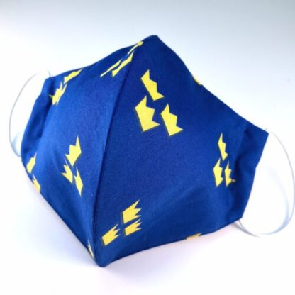 Munskydd, blått med tre kronor, 3 lager 100% bomull
