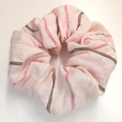 Scrunchie rosa randig linne