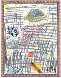 A year ago on Christmas night, the secret stories say, demons conquered Heaven. Deion, age 12, draws God fleeing in a spaceship as his palace burns and humans on Earth (bottom left corner) cry out to Him in vain.