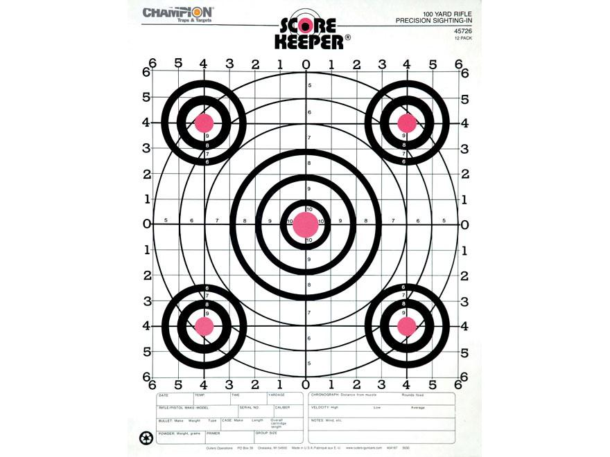 Champion Score Keeper 100 Yard Small Bore Targets 14 x 18