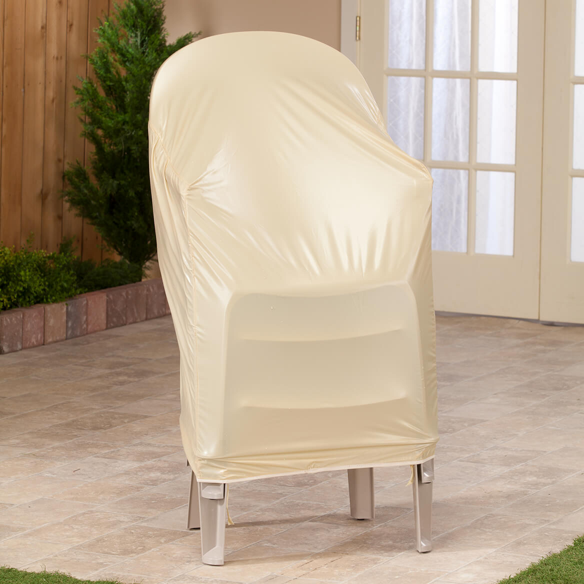 beige chair covers buy big circle stacking cover lawn