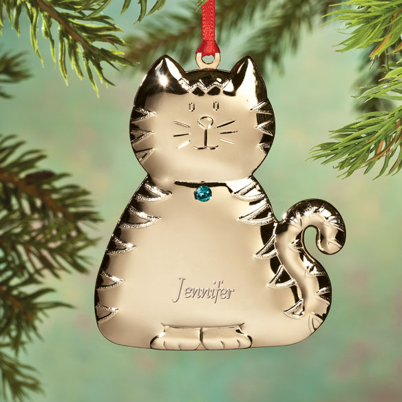 Personalized Birthstone Cat Ornament Christmas Ornament