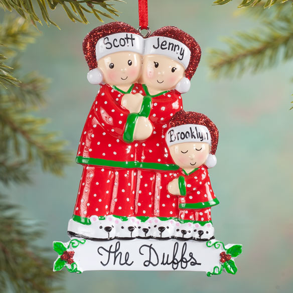 Personalized Family In Pajamas Ornament Holiday Ornament