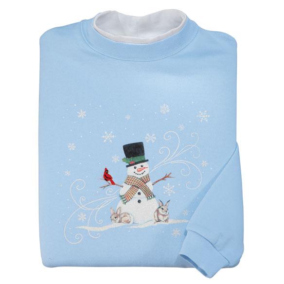 Folk Art Snowman Sweatshirt Holiday Sweater Miles Kimball