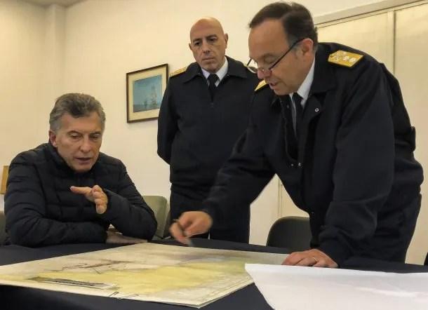 Mauricio Macri duante la búsqueda del ARA San Juan<br>