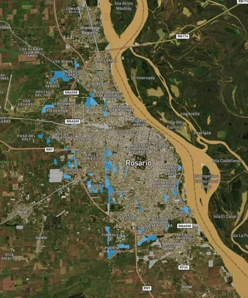 <p>En azul todos los asentamientos cercanos a la ciudad de Rosario. Fuente: Techo</p>