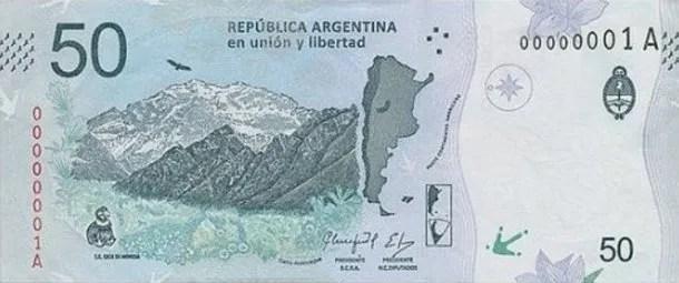 El cerro Aconcagua acompaña al cóndor patagónico en el nuevo billete de 50 pesos<br data-recalc-dims=