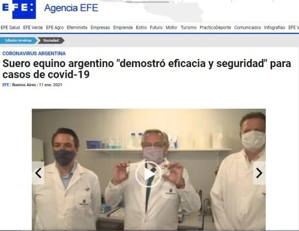 La agencia de noticias española EFE destacó la utilización del suero en pacientes con coronavirus
