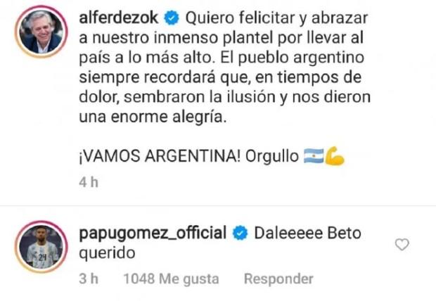 La increíble respuesta de Papu Gómez a Alberto Fernández