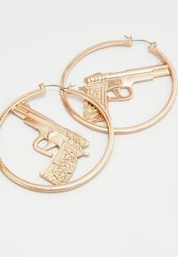Gold Hoop Gun Earrings | Missguided