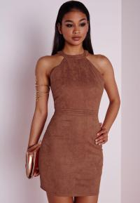 Faux Suede Topstitch Bodycon Dress Tan