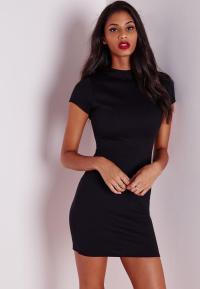Short Sleeve Ponte Bodycon Dress Black | Missguided