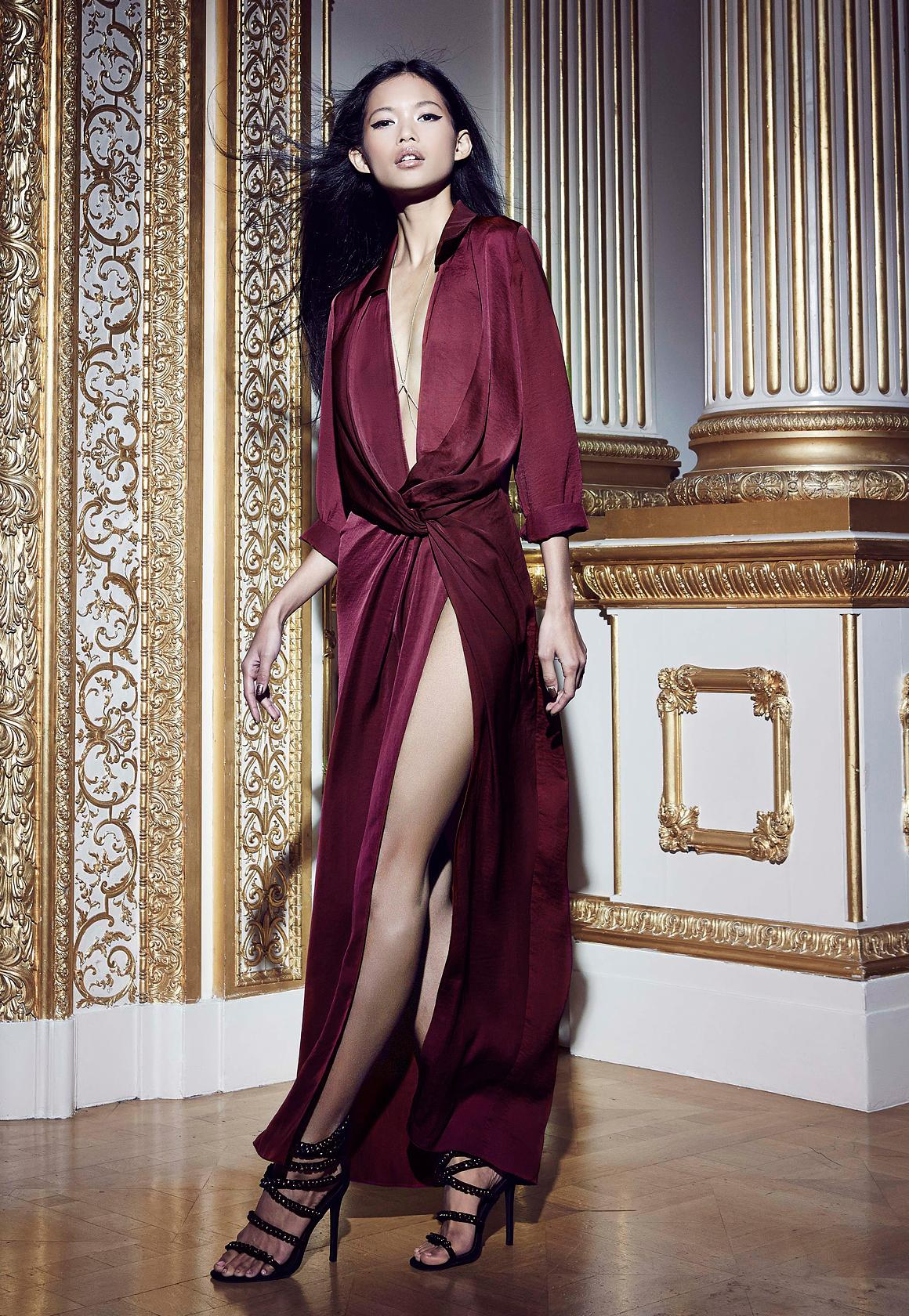 Peace  Love Satin Wrap Thigh Split Maxi Berry  Missguided