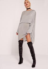 Oversized Satin Dress Grey | Missguided