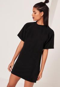 Short Sleeve Oversized T-Shirt Dress Black | Missguided