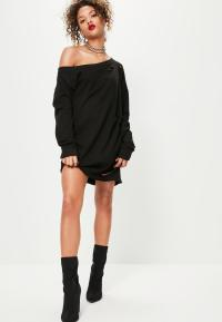 Ripped Oversized Sweater Dress Black | Missguided