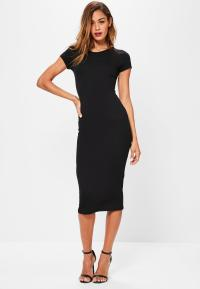 Black Short Sleeve Midi Dress | Missguided