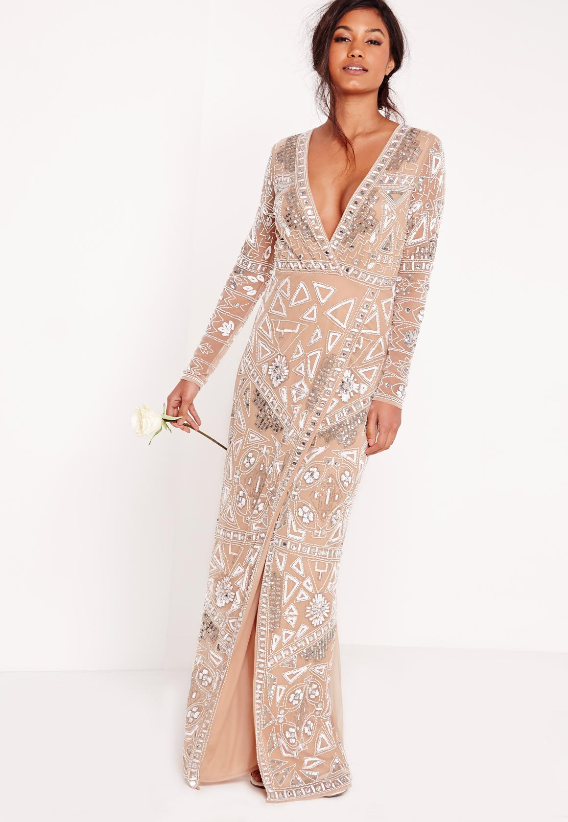 Bridal Sequin Wrap Maxi Dress Silver  Missguided Australia