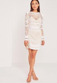 Long Sleeve Lace Bodycon Dress White   Missguided