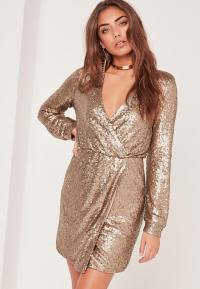 Long Sleeve Sequin Wrap Dress Gold   Missguided