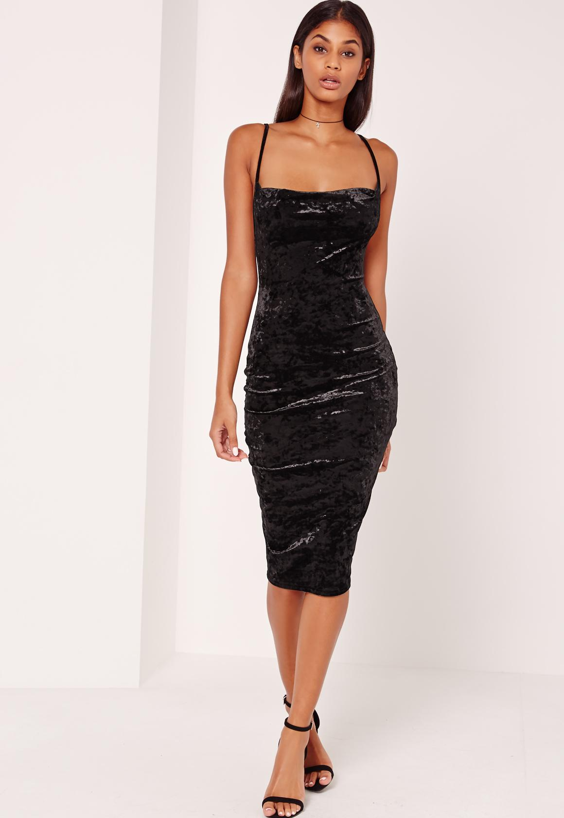 Cowl Neck Velvet Midi Dress Black  Missguided