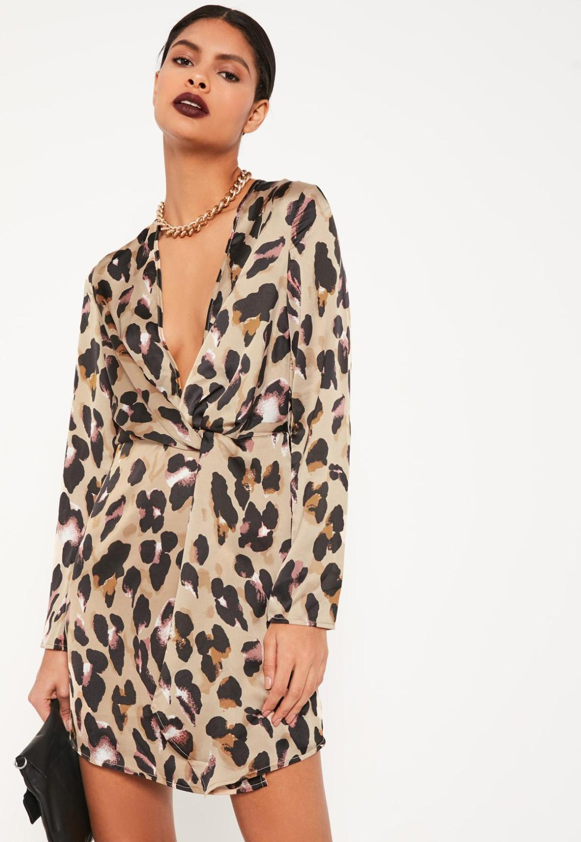 Animal Print Silky Plunge Wrap Shift Dress