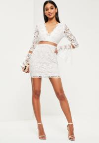 White Lace Flare Sleeve Bodycon Dress   Missguided
