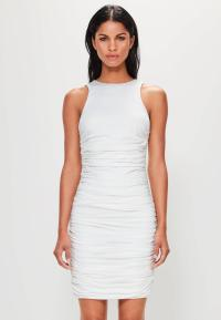 Peace + Love White Sleeveless Ruched Side Mini Dress
