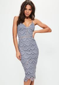 Blue Lace Ladder Detail Midi Dress | Missguided