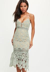 Green Lace Strappy Fishtail Midi Dress | Missguided