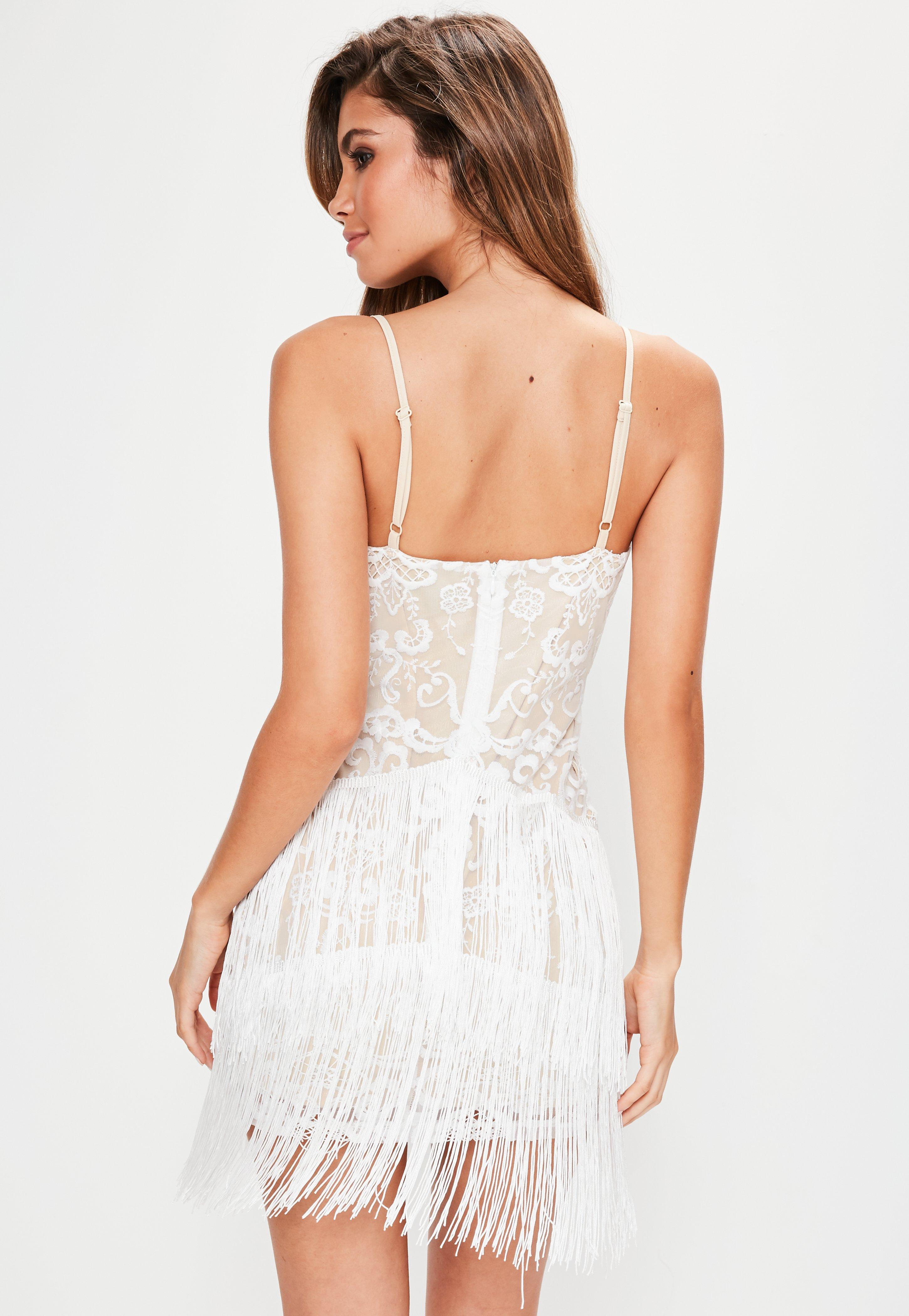White Embroidered Tassel Detail Bodycon Dress  Missguided