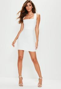 White Sleeveless Lace Up Back Bodycon Dress | Missguided