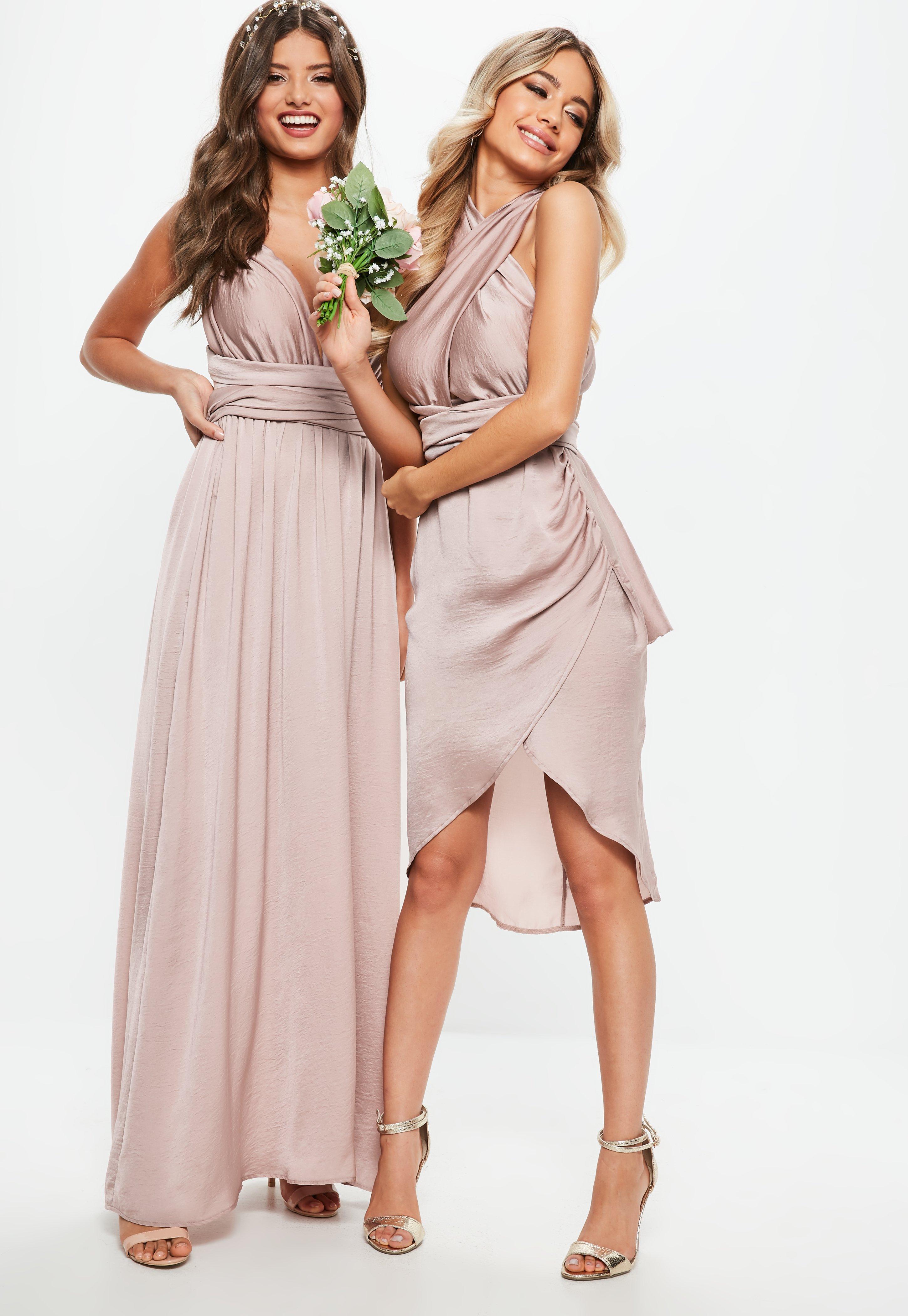 Bridesmaid Pink Satin Multiway Midi Dress