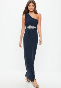 Bridesmaid Navy One Shoulder Diamante Maxi Dress | Missguided