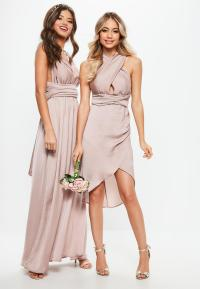 Bridesmaid Pink Satin Multiway Maxi Dress